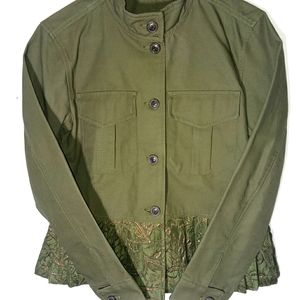 GAP olive green jacket NWT lace button gold trim